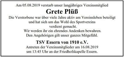 Nachruf Grete Plüß©TSV Essern