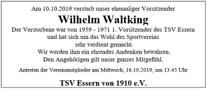 Nachruf Willi Waltking©TSV Essern